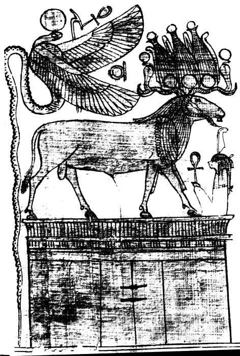 is revealed. Below: The ram of Amun and the Uraeus Goddess. In the same manner that