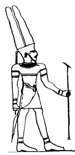 Egyptian Yoga Volume II Above left and right: The anthropomorphic form of Amun with double plumes,