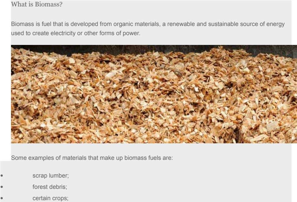 What is Biomass? Biomass is fuel that is developed from organic materials, a renewable and sustainable