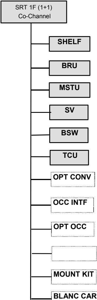 SRT 1F (1+1) Co-Channel SHELF BRU MSTU SV BSW TCU OPT CONV OCC INTF OPT