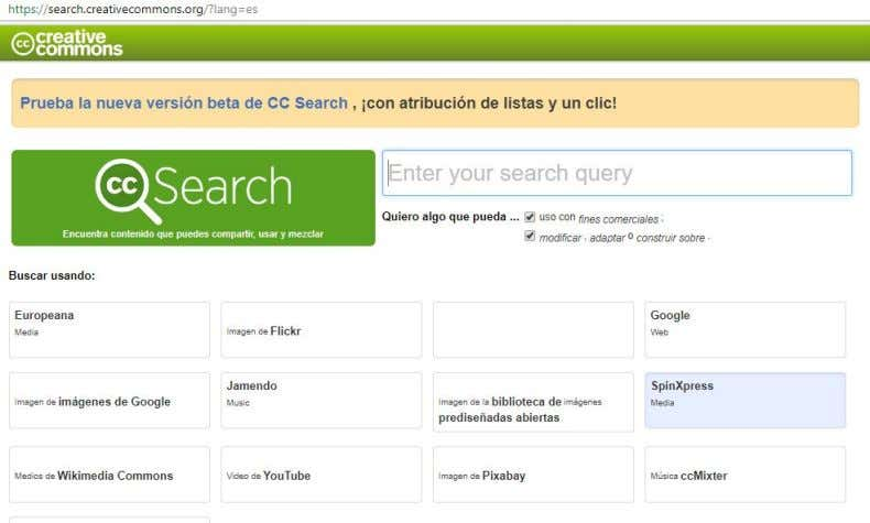 las obras derivadas. El buscador de Creative Commons Ingresar a ​ CCSearch http://search.creativecommons.org/?lang=es