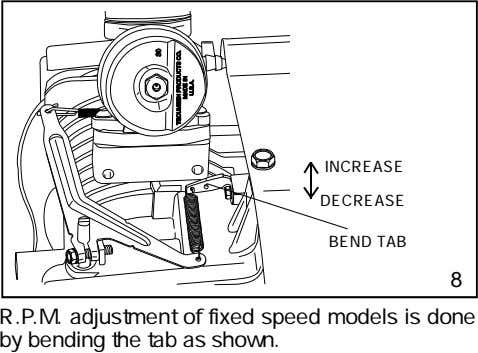 INCREASE DECREASE BEND TAB 8 R.P.M. adjustment of fixed speed models is done by bending