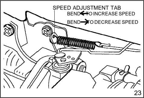 SPEED ADJUSTMENT TAB BEND TO INCREASE SPEED BEND TO DECREASE SPEED 23