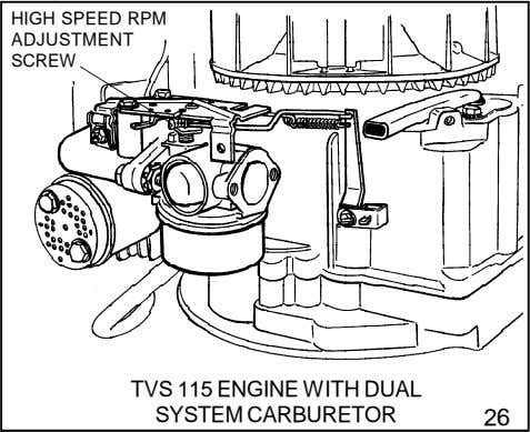 HIGH SPEED RPM ADJUSTMENT SCREW TVS 115 ENGINE WITH DUAL SYSTEM CARBURETOR 26