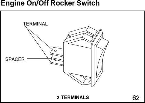 Engine On/Off Rocker Switch TERMINAL SPACER 2 TERMINALS 62