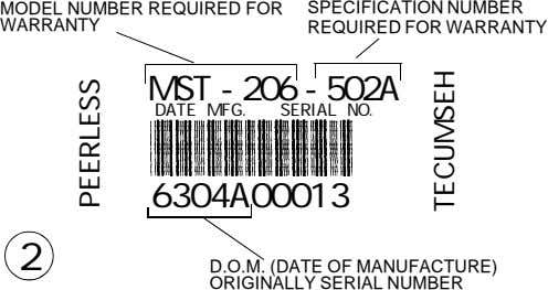 MODEL NUMBER REQUIRED FOR WARRANTY SPECIFICATION NUMBER REQUIRED FOR WARRANTY MST - 206 - 502A