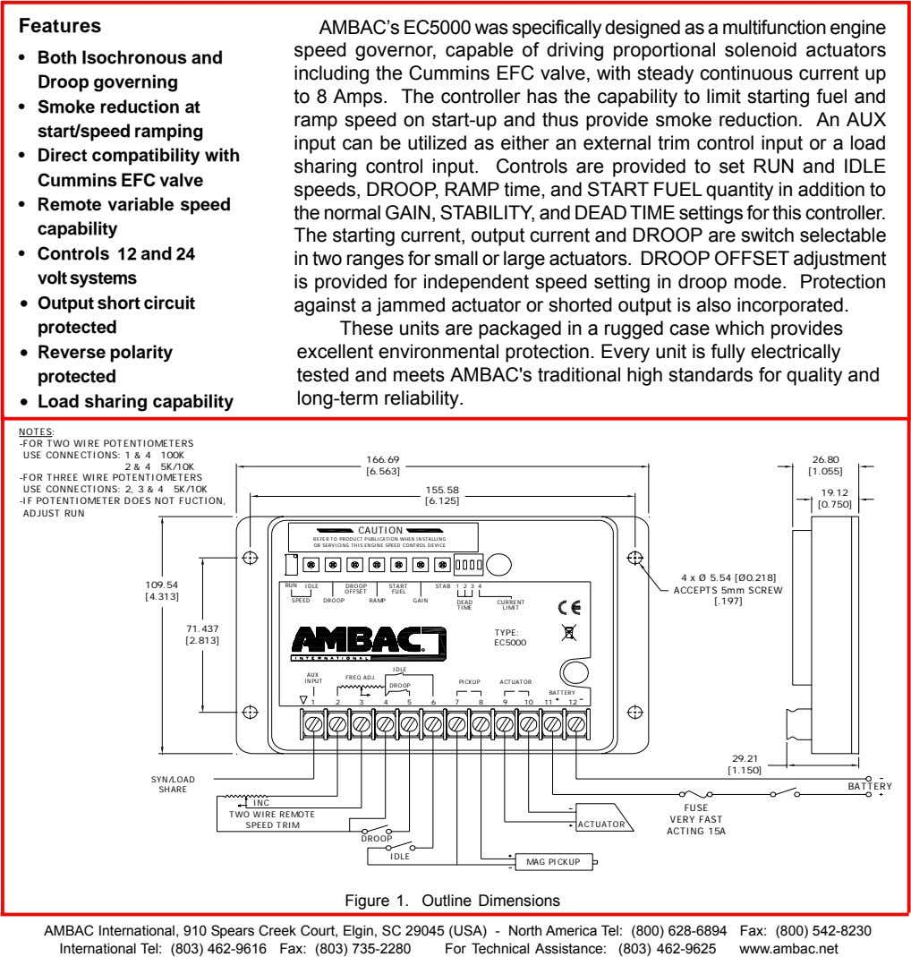 Features AMBAC's EC5000 was specifically designed as a multifunction engine • Both Isochronous and Droop
