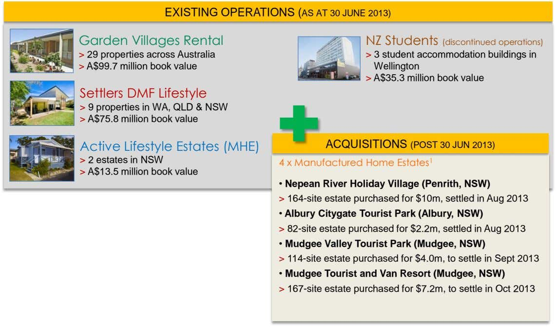 EXISTING OPERATIONS (AS AT 30 JUNE 2013) Garden Villages Rental NZ Students (discontinued operations) >