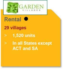 Rental 29 villages > 1,520 units > In all States except ACT and SA