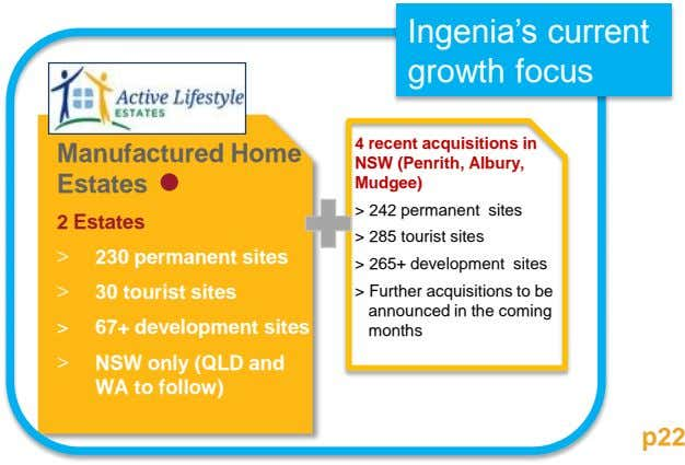 Ingenia's current growth focus 4 recent acquisitions in Manufactured Home Estates NSW (Penrith, Albury, Mudgee)