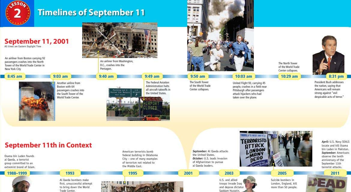 S O 2 Timelines of September 11 S September 11, 2001 All times are Eastern