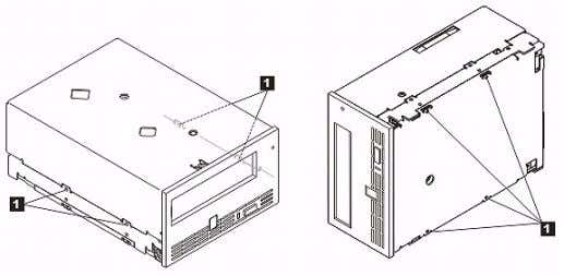 (see Figure 4). Figure 4. Mounting Holes on Tape Drive 1. M-3 mounting screw holes Do