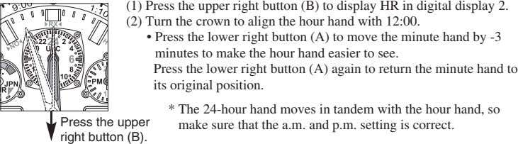 (1) Press the upper right button (B) to display HR in digital display 2. (2)