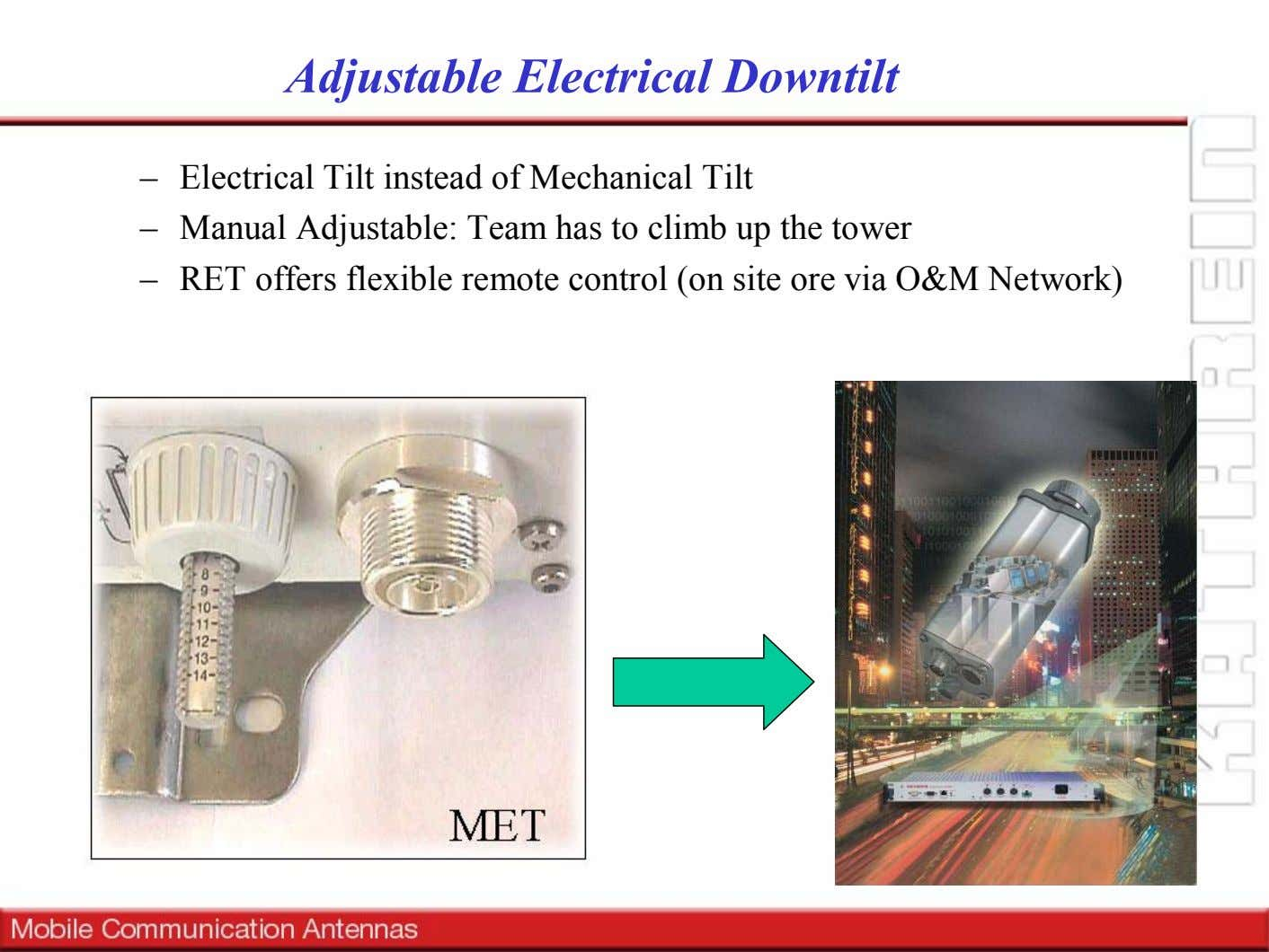 Adjustable Electrical Downtilt – Electrical Tilt instead of Mechanical Tilt – Manual Adjustable: Team has