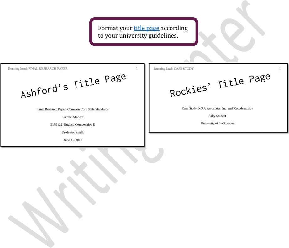 Format your title page according to your university guidelines.