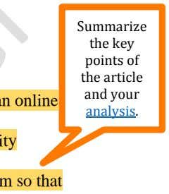 Summarize the key points of the article and your analysis.