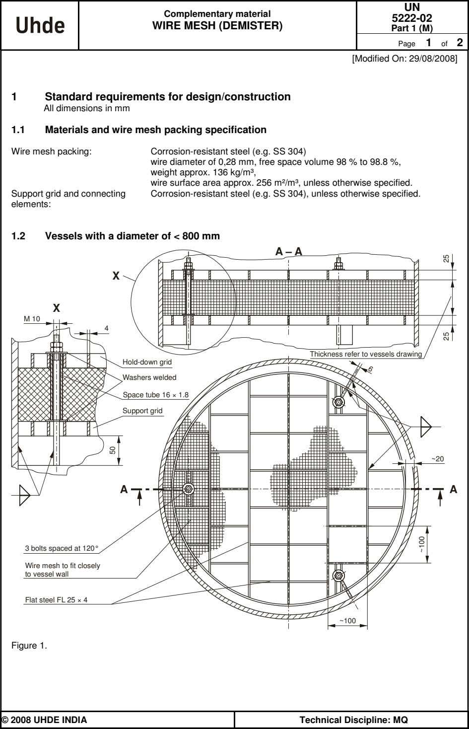 UN Complementary material 5222-02 WIRE MESH (DEMISTER) Part 1 (M) Page 1 of 2 [Modified On:
