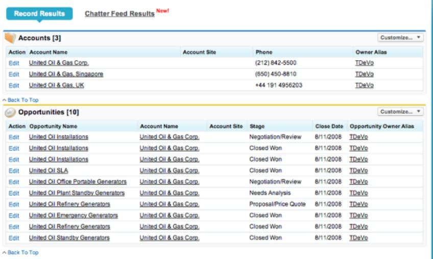 recent items (1). Click the Search button to view all search results (2). Search Results Salesforce
