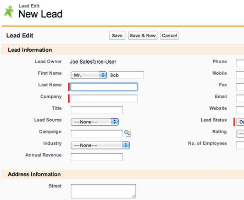 Fill in Lead Information Fill in the details for the lead. Save When you have finished
