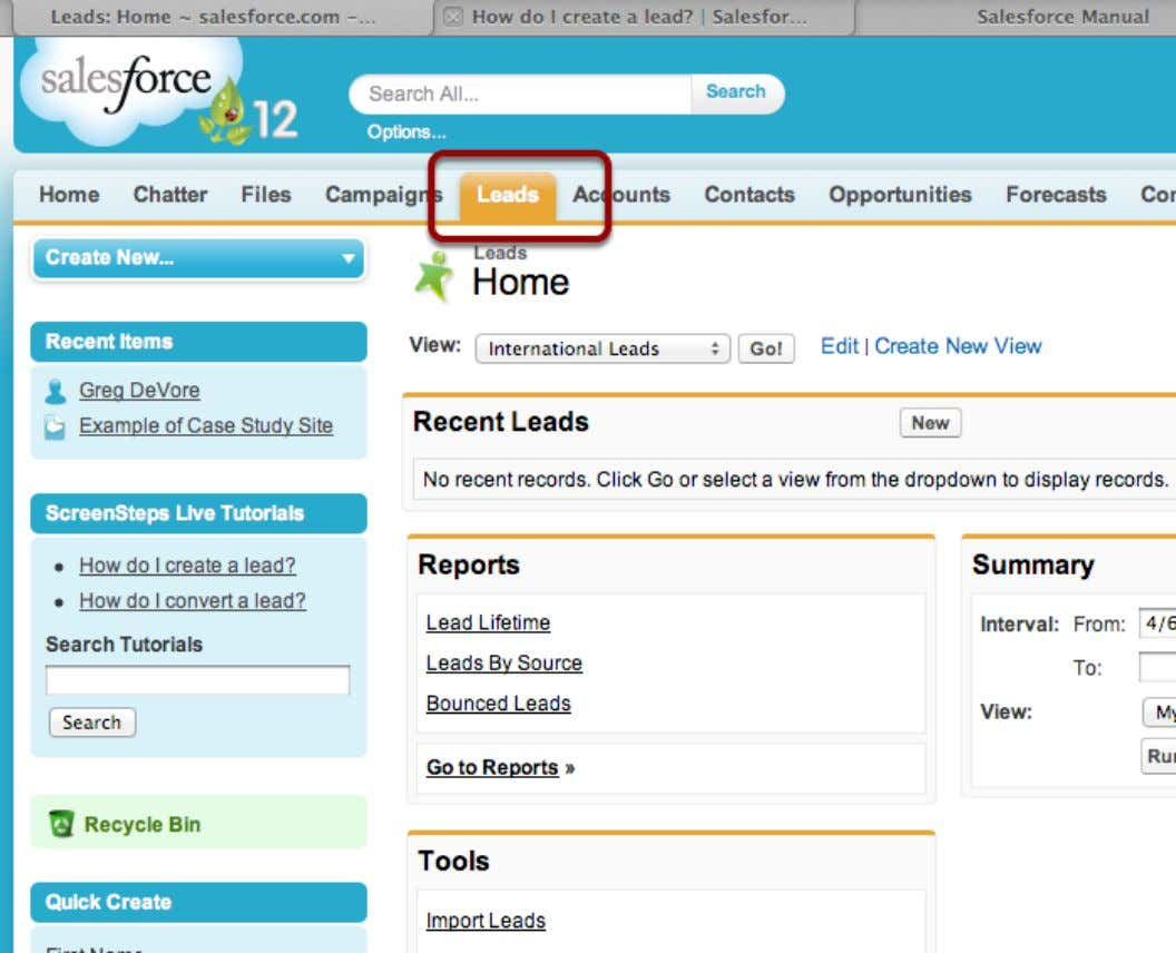 How do I delete a lead? Select Leads tab Salesforce Manual Page 26