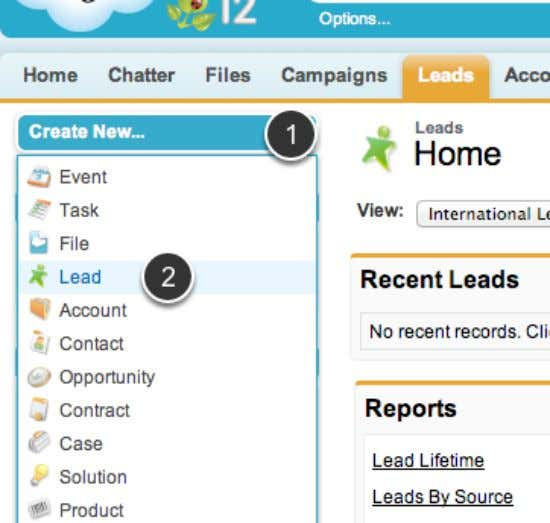Select Create New Lead 1. Select Create 2. Select Lead Salesforce Manual Page 27