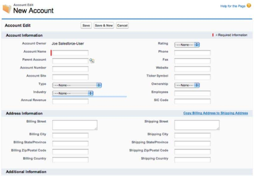 Enter Account Information Save the Account After you have finished filling in the new account information,