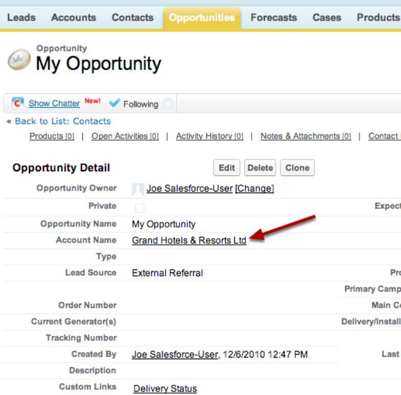 The Result You now have a new Opportunity for the account. Salesforce Manual Page 41