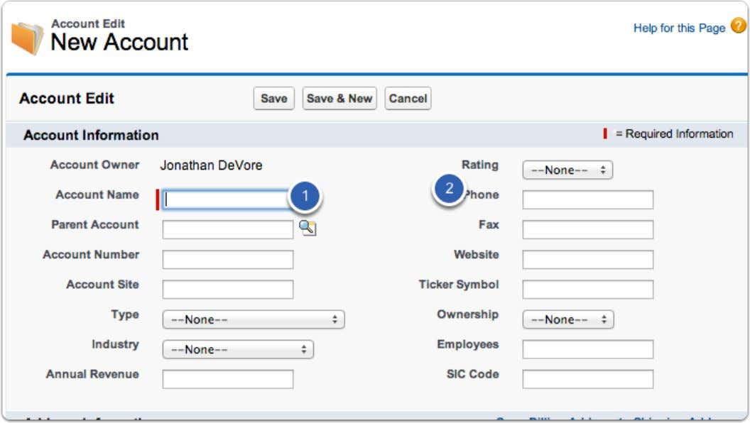 Add a name and phone Include the address (if available) Salesforce Manual Page 48