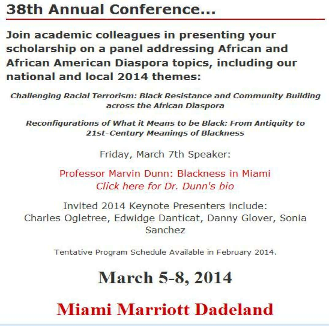 EVENT: MARCH/FLORIDA NATIONAL COUNCIL FOR BLACK STUDIES NCBSONLINE.ORG