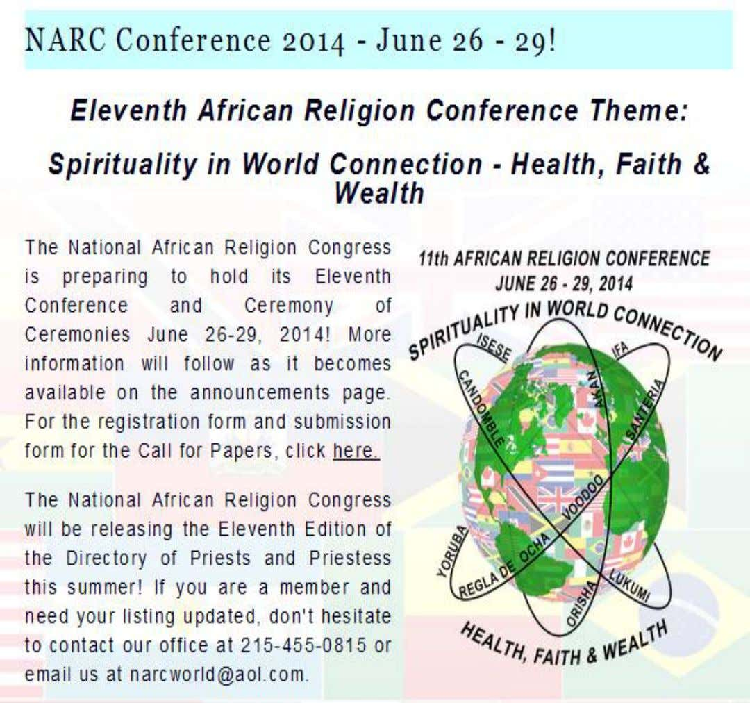 EVENT: JUNE/TBD NATIONALAFRICAN RELIGIONS CONGRESS NARCWORLD.COM