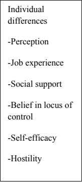 Individual differences -Perception -Job experience -Social support -Belief in locus of control -Self-efficacy -Hostility