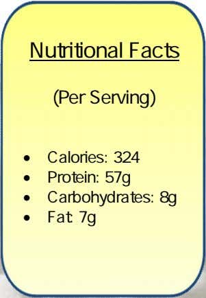 Nutritional Facts (Per Serving)  Calories: 324  Protein: 57g  Carbohydrates: 8g  Fat: