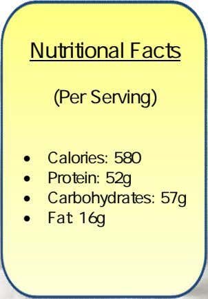 Nutritional Facts (Per Serving)  Calories: 580  Protein: 52g  Carbohydrates: 57g  Fat: