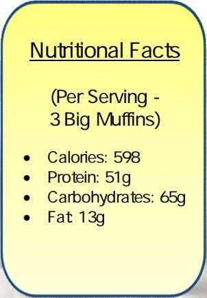 Nutritional Facts (Per Serving - 3 Big Muffins)  Calories: 598  Protein: 51g 