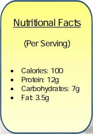 Nutritional Facts (Per Serving)  Calories: 100  Protein: 12g  Carbohydrates: 7g  Fat: