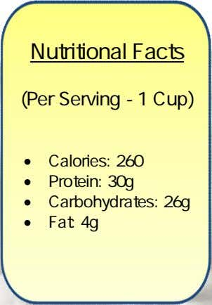 Nutritional Facts (Per Serving - 1 Cup)  Calories: 260  Protein: 30g  Carbohydrates: