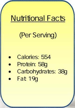 Nutritional Facts (Per Serving)  Calories: 554  Protein: 58g  Carbohydrates: 38g  Fat: