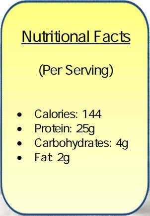 Nutritional Facts (Per Serving)  Calories: 144  Protein: 25g  Carbohydrates: 4g  Fat: