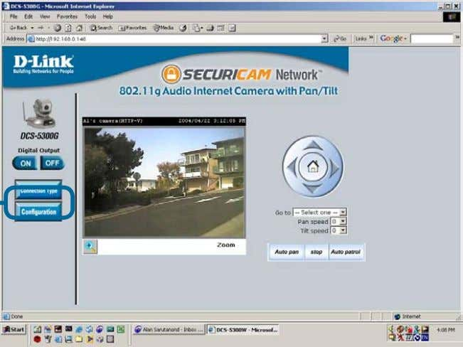 screen from any PC running Internet Explorer on your LAN. Viewing the Video on the browser