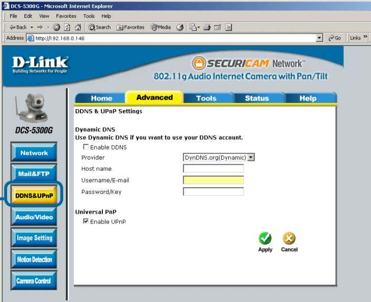 Configuration screen to access DDNS & UPnP settings. Click DDNS &UPnP Dynamic DNS (DDNS) Dynamic DNS