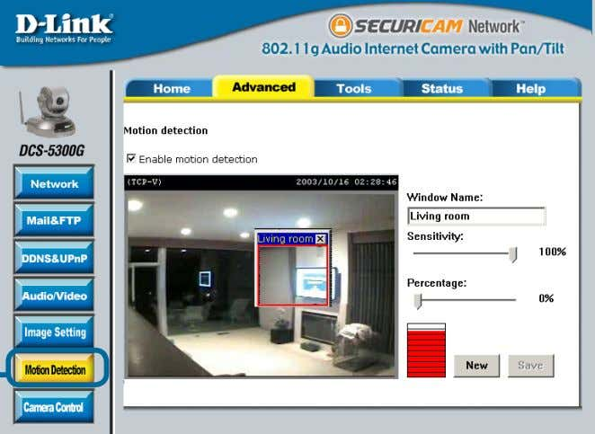 a security device by recording only when motion is detected. Click Motion Detection In this window,