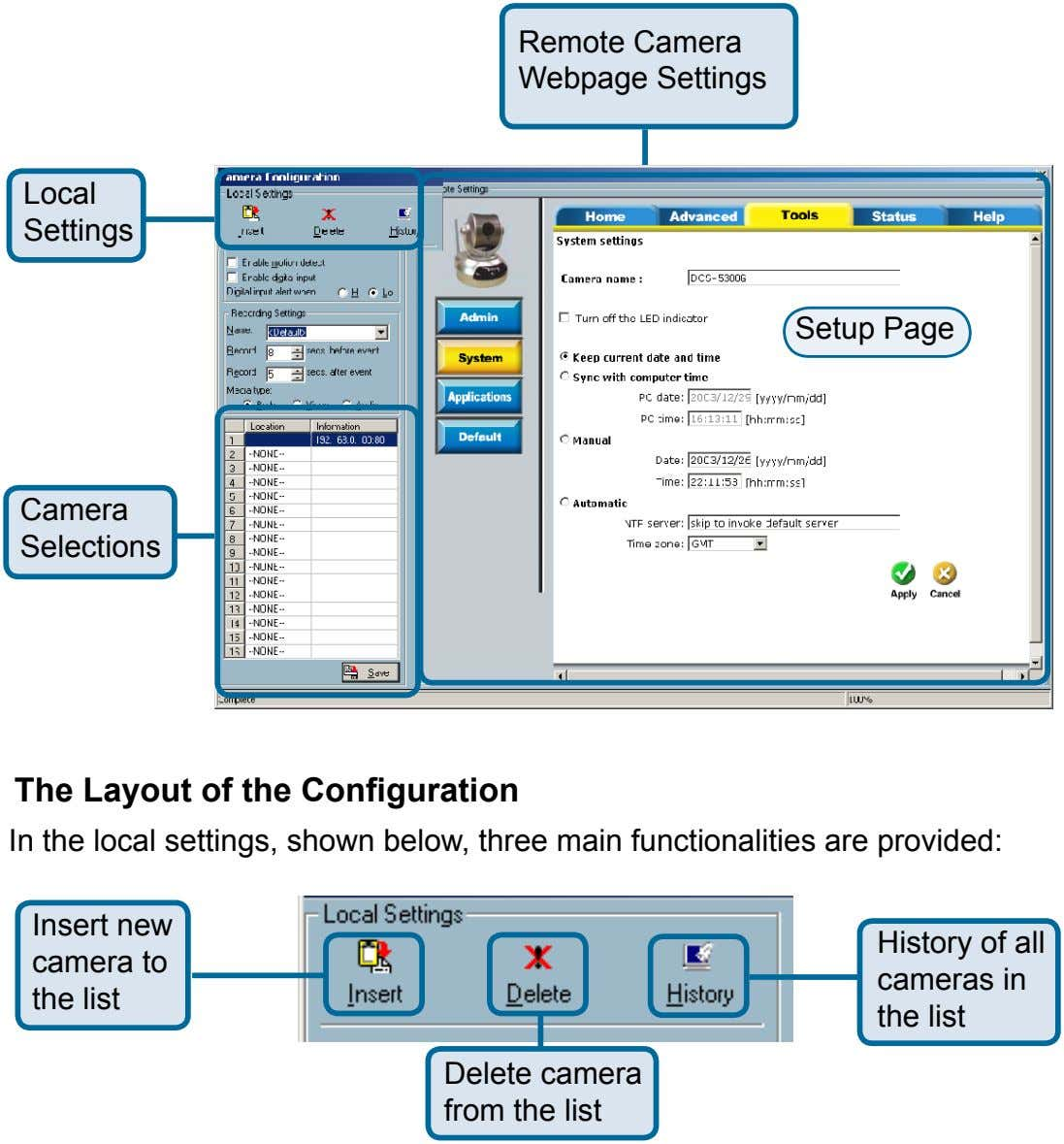Remote Camera Webpage Settings Local Settings Setup Page Camera Selections The Layout of the Configuration