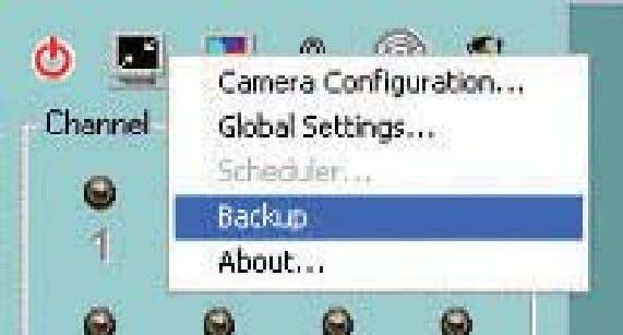 "settings window, you can backup recorded data by clicking ""Backup"" in the Configuration Menu, as seen"