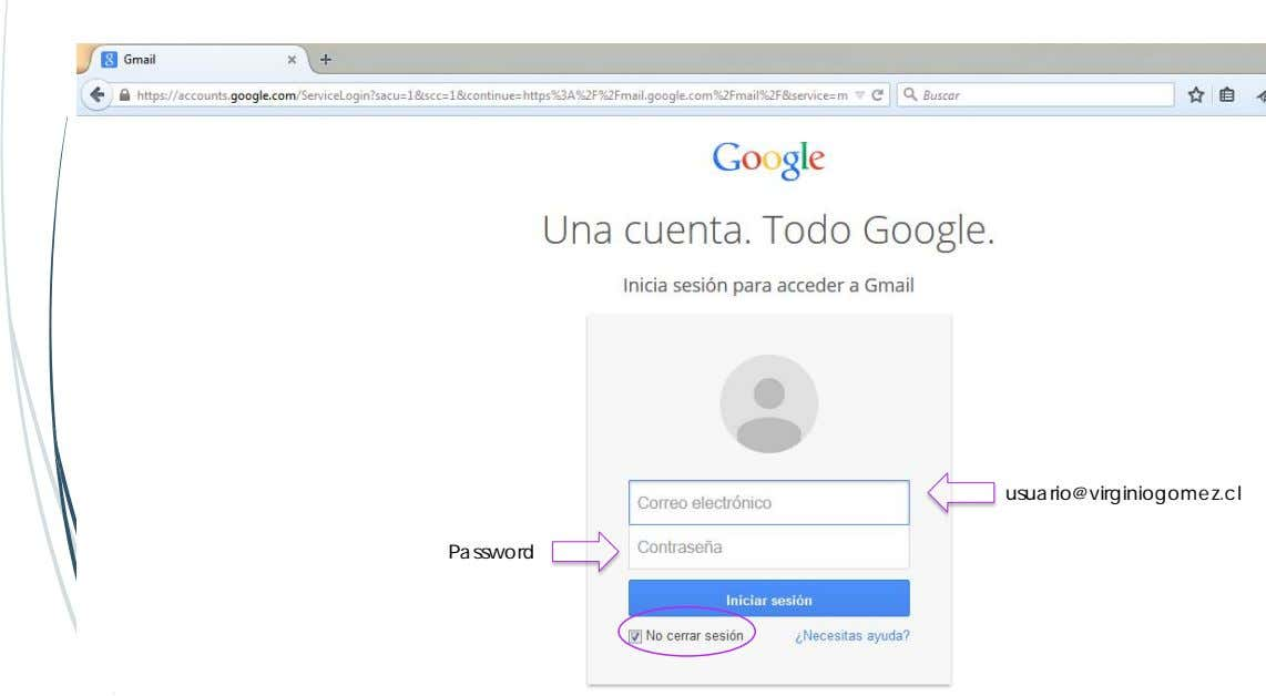 usuario@virginiogomez.cl Password