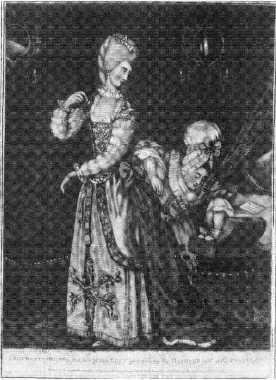 "94 THE FEMALE THERMOMETER Figure 6.4. Anonymous engraving, ""Lady Betty Bustle with her maid Lucy, preparing"