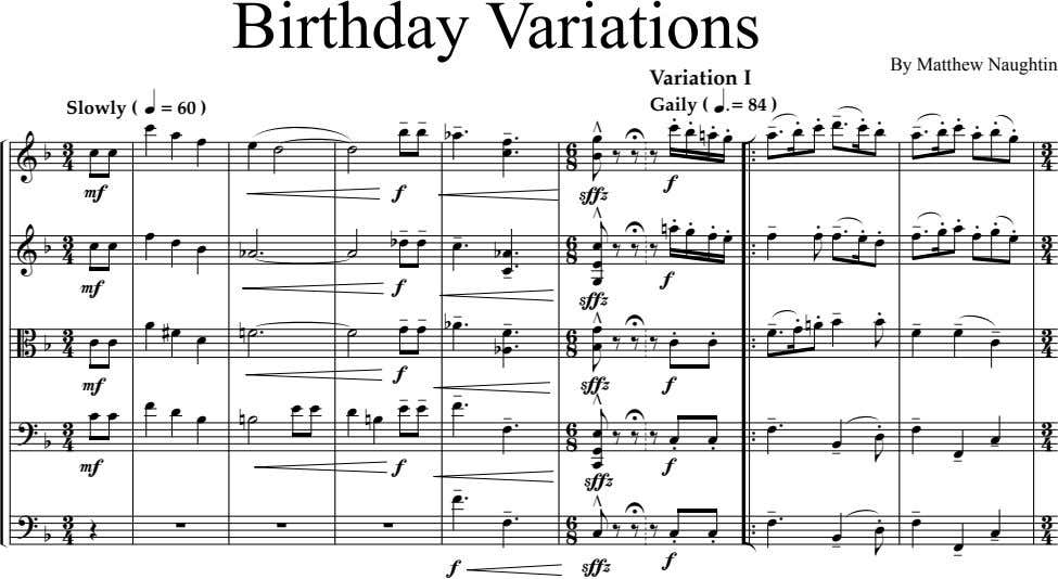 Birthday Variations By Matthew Naughtin Variation I Slowly ( q = 60 ) Gaily (