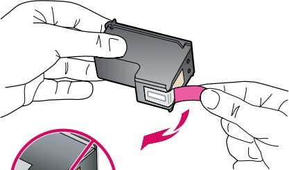 8 EN Remove the tape from both cartridges. CAUTION: Do not touch the copper-colored contacts or