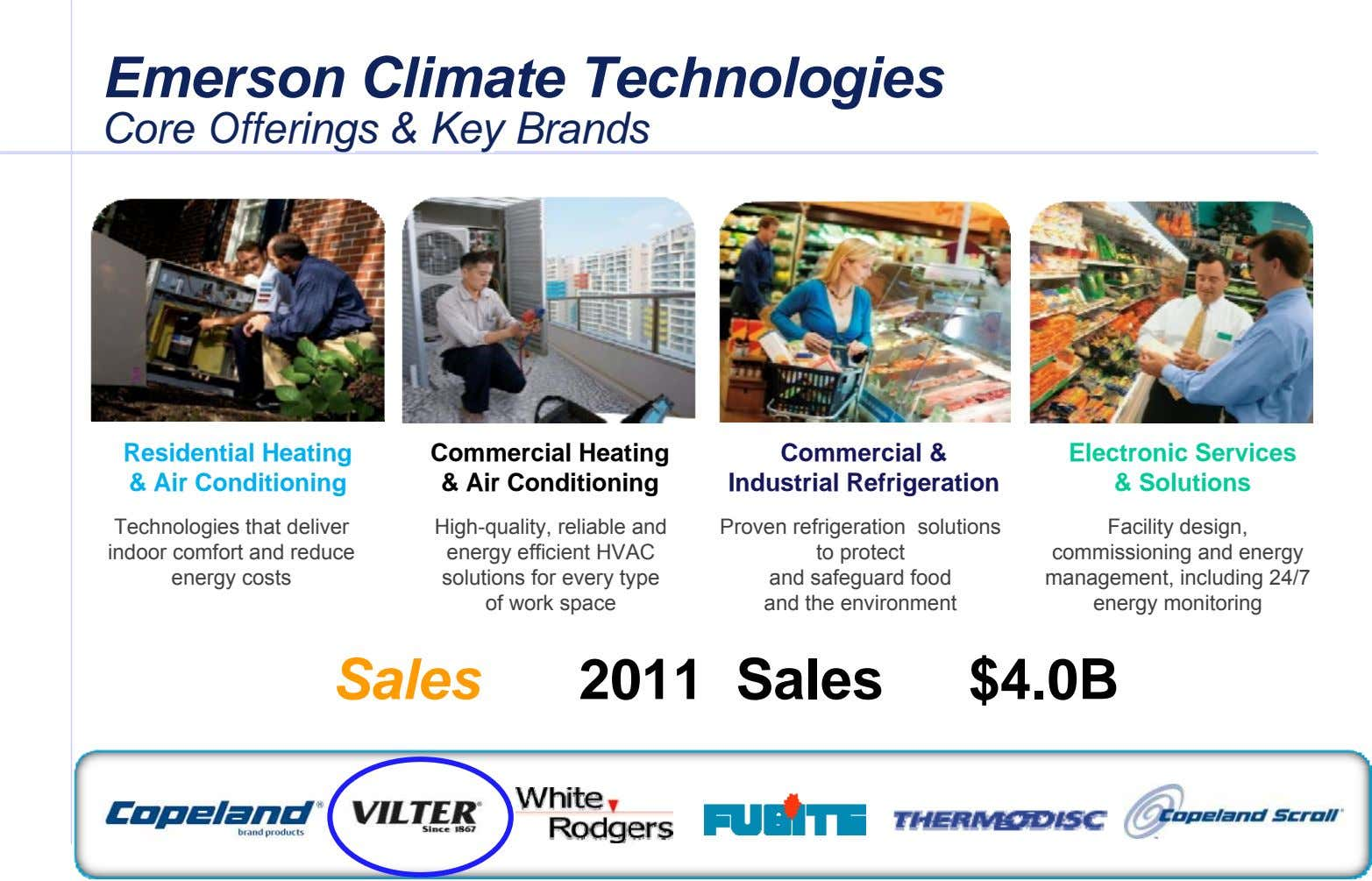 Emerson Emerson Climate Climate Technologies Technologies Core Offerings & Key Brands Core Offerings & Key