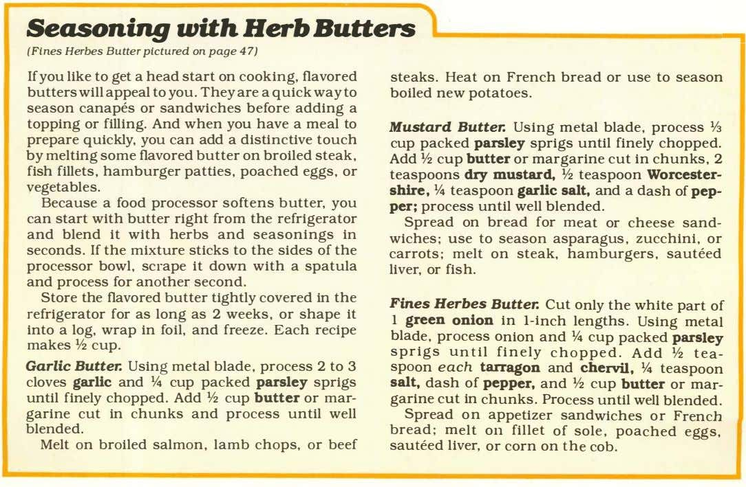 "1r Seasoning with Herb Butters 1 -;""1 I (Fi nes Herbes Butte r pictured on"