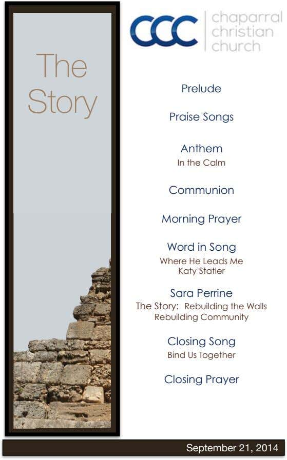 The Prelude Story ! Praise Songs ! Anthem In the Calm ! Communion ! Morning